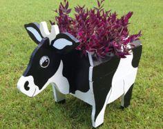 Cache pot en animaux en bois - vache