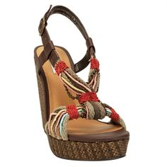 Not Rated Mai Tai Rope Wedge #VonMaur #NotRated #Brown #Strappy