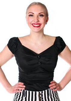 Dolores Black Top - Musta Dolores toppi - misswindyshop.com  #50s #vintage #black #top #retro