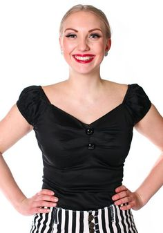 Dolores Black Top by Collectif misswindyshop.com  #50s #vintage #black #top #retro