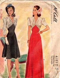 McCall 4185; ©1941; Misses' Dress - Two-Lengths | Vintage Patterns Wikia