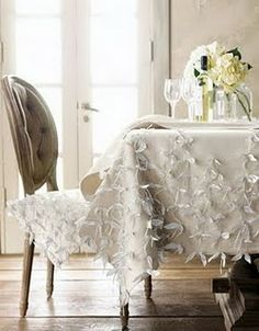 Embroidered floral vintage tablecloth vintage white tablecloth ...