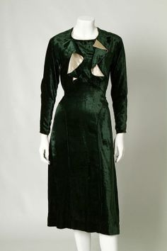 ORIGINAL VINTAGE 1930s 1940s Green Velvet Dress with Gold Ruffles / Small /(107)