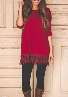 Maroon Patchwork Lace Round Neck Fashion Mini Dress