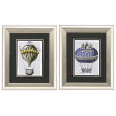 Fantasy Balloon 2 Piece Framed Painting Print Set