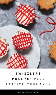 Pull apart strands of TWIZZLERS Pull 'n' Peel to make a lattice pattern atop classic vanilla cupcakes. Go ahead, play with your food — via @PureWow