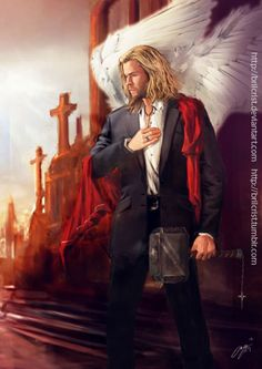 brilcrist: Avenging Angels AU character series -- Thor The others are better. Especially Iron Man and Captain America :) Marvel Art, Marvel Comics, Angelus, Ange Demon, Loki Thor, Marvel Cinematic Universe, Chris Hemsworth, Marvel Avengers, Iron Man