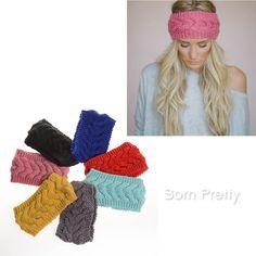 $3.36 1Pc Winter Warmer Crochet Elastic Knit Hairbands Wide Headband 14 Colors - BornPrettyStore.com