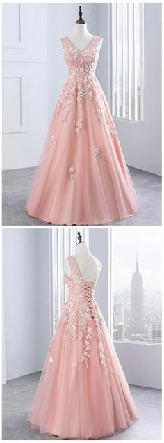 Pink tulle evening dress,sexy ball gowns, custom made ,new fashion, V neck evening dress Prom Dress Group Prom Dresses For Teens, Formal Evening Dresses, Evening Gowns, Dress Formal, Pretty Dresses, Sexy Dresses, Beautiful Dresses, Elegant Dresses, The Dress