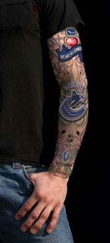 NHL Vancouver Canucks Tattoo Sleeves by Fan-Inc. $14.77. The newest craze for the NHL fan.  The tattoo sleeves inks you as a fan of your favorite NHL team- for the night! This nylon sleeve slips on your arm just under your short sleeve Tshirt, or Polo giving the appearance that you are inked for your team colors. One size fits male adults.. Save 28%!