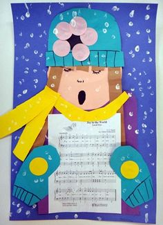 3rd grade. Art. I think this is a cute idea to do in the winter for the board outside the classrrom! The kids could pick their favorite holiday song and then decorate their caroler.