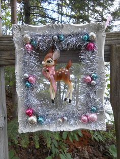 Sahbby Chic Vintage Reindeer Christmas Wreath Kitsch Whimsical
