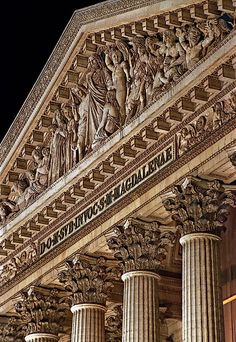 The upper portion of la Madeleine's facade, Paris, France