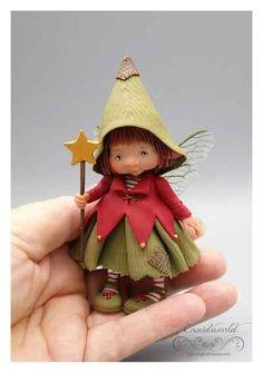 Polymer Clay Fairy, Polymer Clay Crafts, Clay Fairies, Flower Fairies, Christmas Fairy, Christmas Ornaments, Fairy Figurines, Baby Fairy, Cold Porcelain