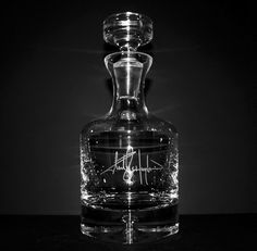 Engraved Crsytal Whiskey Decanter w/ Custom Signature - Personalized Groomsmen Gift