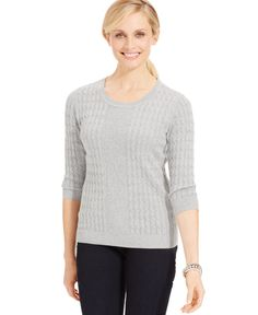 Karen Scott Placed Cable-Knit Sweater