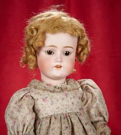 """23"""" German bisque child doll by Bergmann ~~~23"""" (58 cm.) Bisque socket head, brown glass sleep eyes, painted facial features open mouth, four porcelain teeth, blonde mohair wig, composition and wooden ball-jointed body, pretty costume. Marks: Simon & Halbig C.M. Bergmann 3. Generally excellent. Bergmann, circa 1920."""