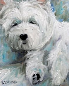 white westie west highland terrier dog puppy art oil paintings by mary sparrow smith from hanging the moon, home decor, gift ideas, prints
