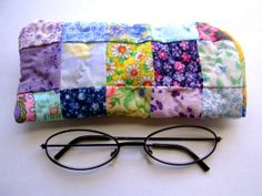 Patchwork quilt eyeglass case ,yellow, multicolored floral fabric. Handmade by IntricateHandiwork, $6.99