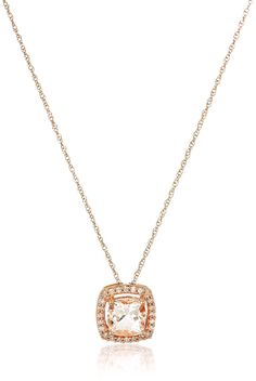 10k Rose Gold Cushion Morganite and Diamond Pendant Necklace (1/10cttw, I-J Color, I2-I3 Clarity), 18' ** Details can be found by clicking on the image. (This is an Amazon Affiliate link and I receive a commission for the sales)