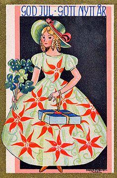 Lovely Poinsettia Dressed Girl