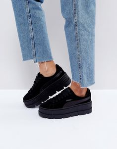 PUMA X FENTY SUEDE CREEPERS IN BLACK - BLACK. #puma #shoes #