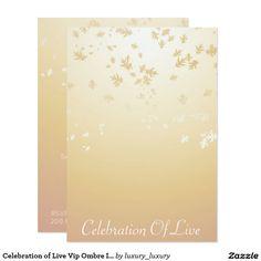 Celebration of Live Vip Ombre Ivory 9 Cm X 13 Cm Invitation Card