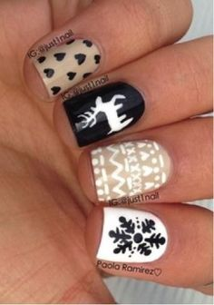 Winter print nails! perfectforwinter seasonnailart