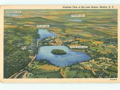 Monroe NY Aerial Greenwood Walton Wickman Round Island Lakes Postcard # 5401
