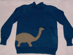 Ravelry: Cody's Dinosaur Sweater pattern by Debbie Macomber // use brighter colors and rolled neck Knitting Patterns Boys, Baby Boy Knitting, Jumper Patterns, Knitting For Kids, Baby Patterns, Dinosaur Sweater, Debbie Macomber, Boys Sweaters, Kids Outfits