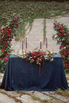 Navy And Burgundy Wedding, Maroon Wedding, Fall Wedding, Navy Blue Wedding Theme, Navy Blue Weddings, Navy Wedding Colors Fall, November Wedding Colors, Deep Red Wedding, Burgundy Wedding Flowers
