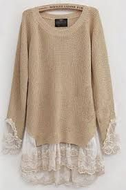 add Lace to Sweaters. I AM going to do this to a sweater.add Lace to Sweaters. I AM going to do this to a sweater. With the most beautiful lace. Diy Fashion, Ideias Fashion, Womens Fashion, Street Fashion, Fashion Ideas, Fashion Sewing, Fashion Tips, Fashion Trends, Refashioning
