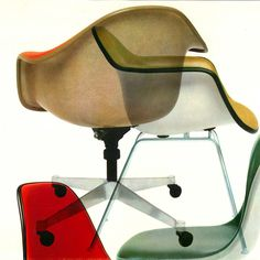 A classic mid-century design Herman Miller product shot of Eames chairs
