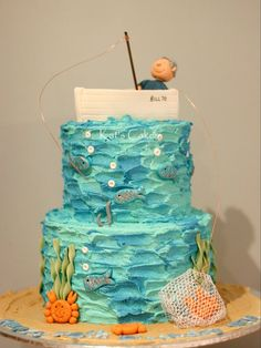 Cake: Top deck mud Frosting: Vanilla buttercream Filling: Chocolate ganache Decorations: all handmade from fondant. Non edible parts: Fishing pole, wires and crab net. Fish Cake Birthday, 70th Birthday Cake, Birthday Ideas, Boat Cake, Ocean Cakes, Cakes For Boys, Themed Cakes, Beautiful Cakes, Party Cakes