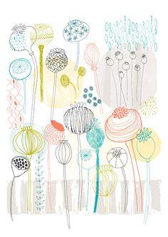 Pretty Poppies Print by Lesley Grainger