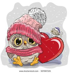 Cute Cartoon Owl in a knitted cap and a heart