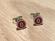 Lippy and Fave cat's eye studs - handmade in sterling silver & red / turquoise resin