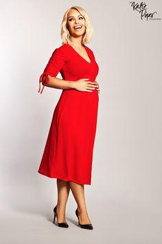 f2cdb2b11d422 Katie Piper Maternity Red Tea Dress - Want That Trend