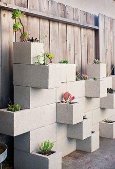 Concrete Block Planters with Succulents