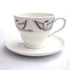 Flying Red Bird Cup and saucer.