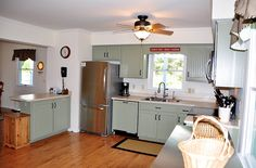 Country green kitchen cabinets