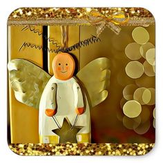 Pretty Gold Christmas Angel Christmas Sticker - gold gifts golden customize diy