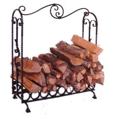 Fireplaces Accessories: Black Hawk Large Wrought Iron Indoor Log Holder