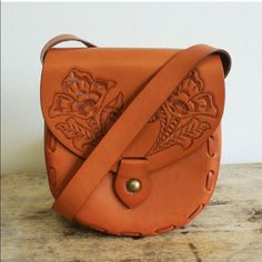 Lily Of The Valley Crossbody Tooled Leather Bag