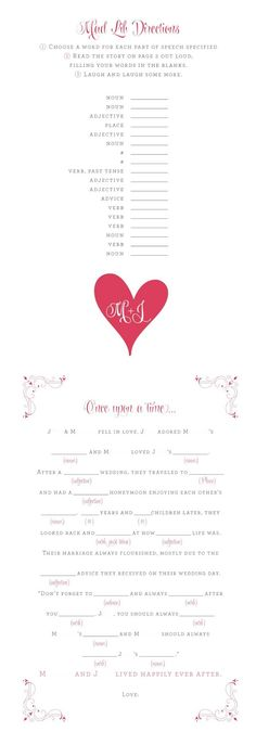Wedding madlib with pink, black and white colors. Full names have been removed