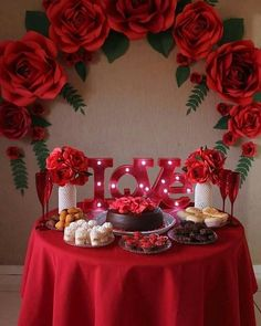 Getting smart with romantic dinner decoration ideas 7 ideas ideas event ideas party ideas wall ideas wedding styles decoration ideas decoration ideas Red Party Decorations, Decoration Evenementielle, Quinceanera Decorations, Valentines Day Decorations, Valentines Diy, Birthday Decorations, Paper Flower Backdrop, Paper Flowers Diy, Giant Flowers