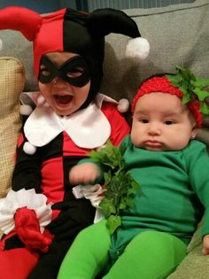 Toddler Harley Quinn and  baby Poison Ivy sister Halloween costumes.