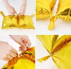 12X Tie Gold Square Foil Balloons Birthday Wedding Party Decor Store Interior #Joyparty #BirthdayChild
