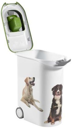 20Kg Dog Food Container Box Potable Wheels Pet Supplies Scoop Feeder Lid Bin