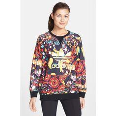 Women's adidas 'Maracatu' Sweatshirt (88 AUD) ❤ liked on Polyvore featuring tops, hoodies, sweatshirts, adidas tops, adidas, patterned sweatshirts, relaxed fit tops and print sweatshirt